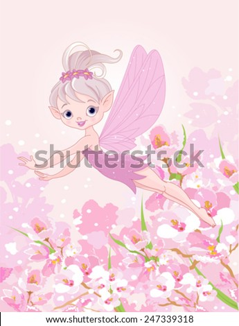 Illustration of cute Pixy fairy flying - stock vector
