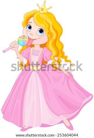 Illustration of cute princess licks lollipop - stock vector