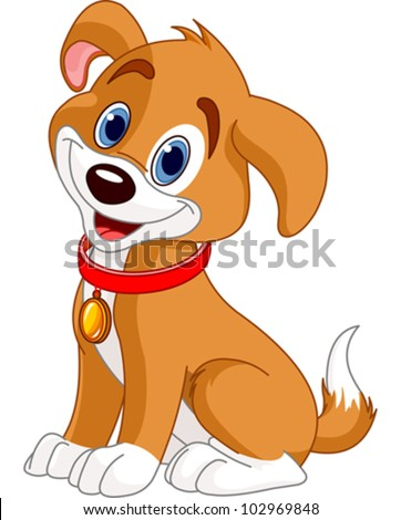 Illustration of cute puppy, wearing a red collar with gold tag. - stock vector