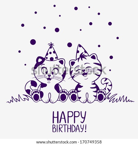 illustration of cute silhouette kittens card Happy Birthday - stock vector