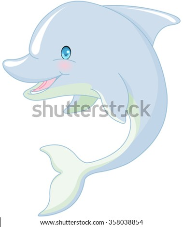 Illustration of cute swimming Dolphin  - stock vector