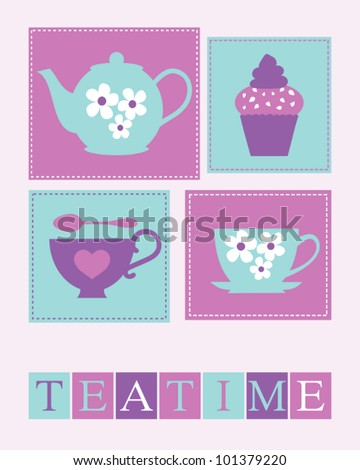 Illustration of cute teacups, teapot and a cupcake. - stock vector
