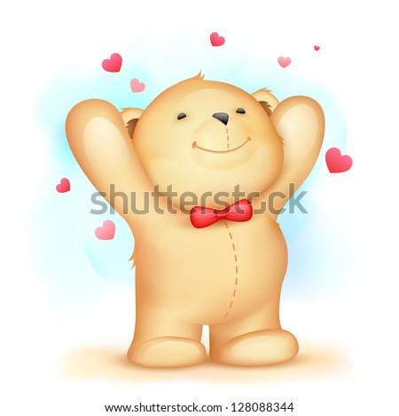 illustration of cute teddy bear on love background - stock vector