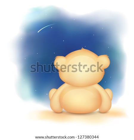 illustration of cute teddy bear waving hand - stock vector