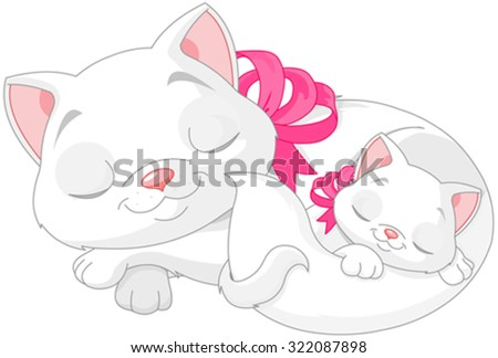 Illustration of cute white cats are seeping  - stock vector