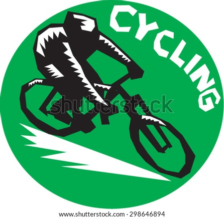 Illustration of cyclists riding racing bicycle cycling biking viewed from high angle set inside circle with the word Cycling  in the background done in retro woodcut style.  - stock vector