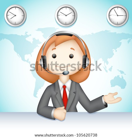 illustration of 3d business lady in vector talking on headphone in call center - stock vector