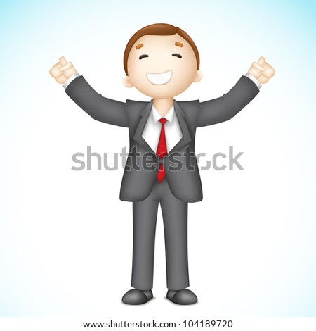 illustration of 3d business man in vector showing happy gesture - stock vector