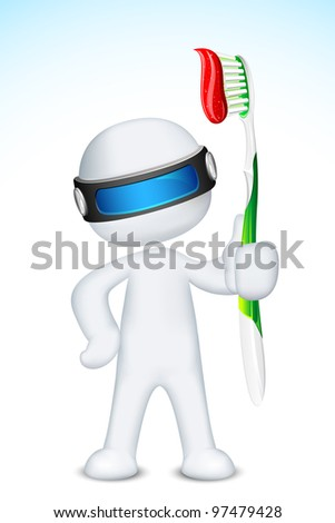 illustration of 3d doctor in vector fully scalable standing with tooth brush - stock vector