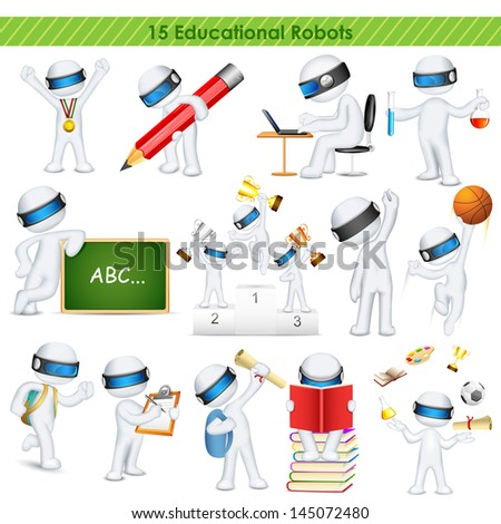 illustration of 3d education student in fully scalable vector - stock vector