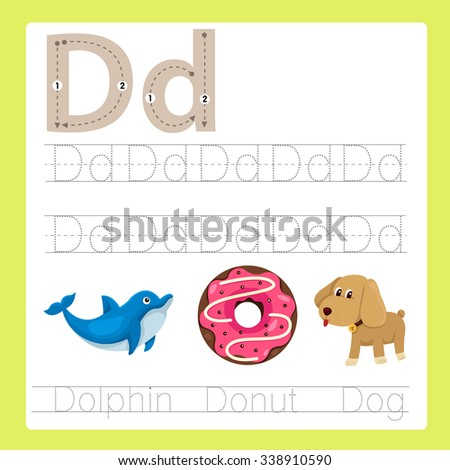 Illustration of D exercise A-Z cartoon vocabulary - stock vector