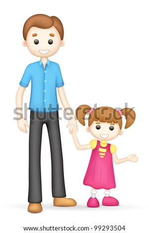 illustration of 3d father and daughter in vector fully scalable - stock vector