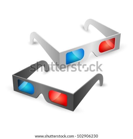 illustration of 3d glasses on white background - stock vector