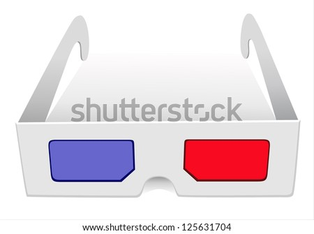 illustration of 3d glasses on white background - stock vector