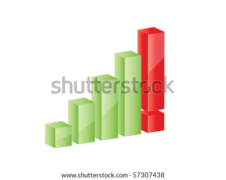 Illustration of 3D graph growing up with exclamation mark