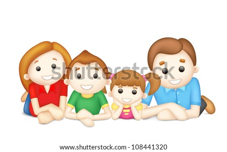 illustration of 3d happy family in vector laying on floor - stock vector