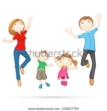 illustration of 3d jumping family in editable vector - stock vector