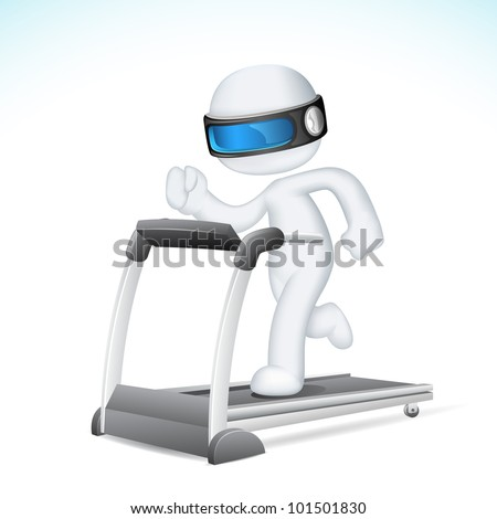 illustration of 3d Man in fully scalable vector running on treadmill - stock vector