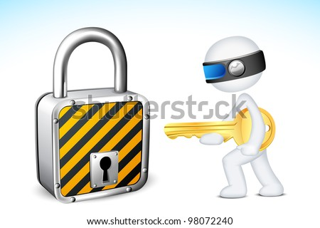 illustration of 3d man in fully scalable vector with lock and key - stock vector