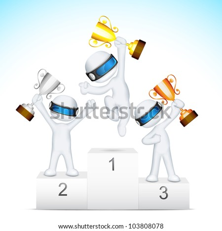 illustration of 3d man in vector fully scalable holding trophy on victory podium - stock vector