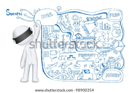illustration of 3d man in vector fully scalable making business doddle - stock vector