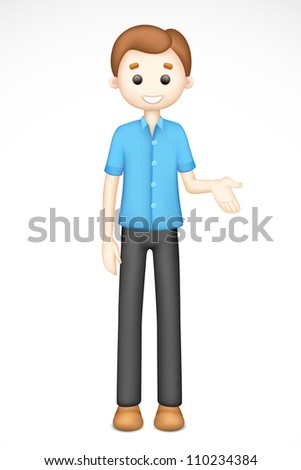 illustration of 3d man in vector standing on white background - stock vector
