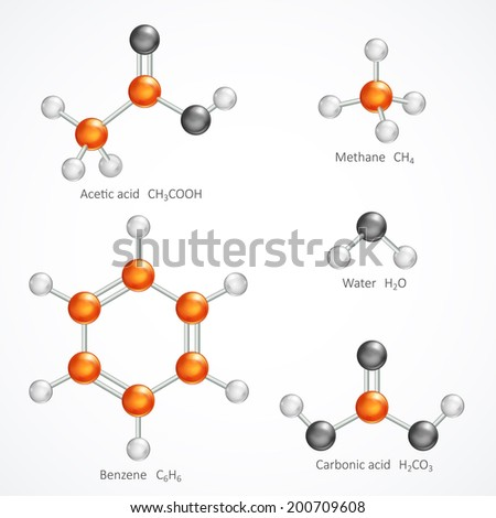 Illustration of 3d molecular structure, ball and stick molecule model acetic acid, methane, water, benzene, carbonic acid, isolated on white background, stock vector graphic - stock vector