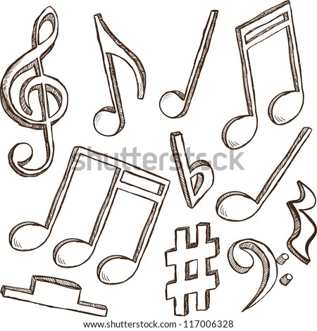 Illustration of 3d notes and clefs - hand drawn style - stock vector