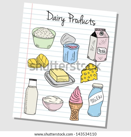 Illustration of dairy products colored doodles on lined paper - stock vector