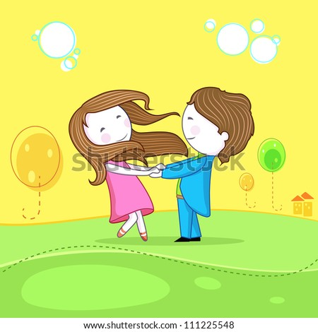 illustration of dancing couple celebrating life - stock vector