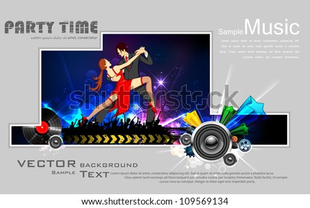 illustration of dancing couple performing salsa on abstract background - stock vector