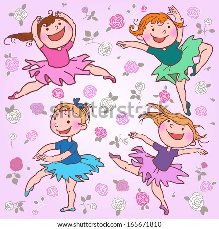 Illustration of dancing little ballerinas. Dancing with the stars. Children illustration for School books, pictures books, magazines, advertising and more. Separate Objects. VECTOR. - stock vector