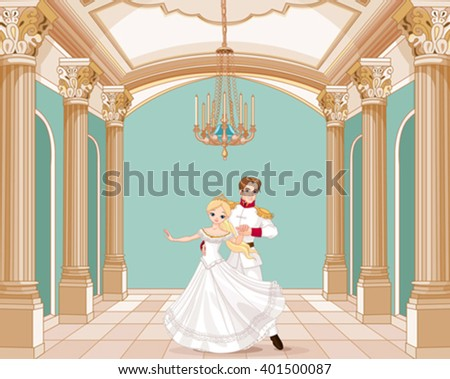 Illustration of dancing prince and princess