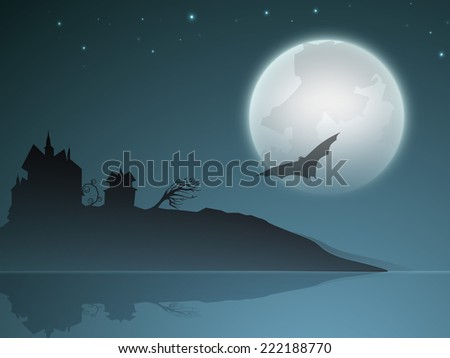 Illustration of dangerous night scene with silhouette of church and a bat flying infront of moon.