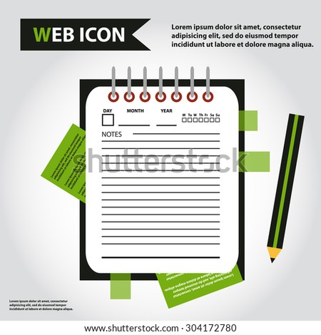 Illustration of datebook, personal organizer for learning and writing, paper document with pencil web icon, vector.