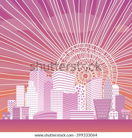 Illustration of dawn in the city - stock vector