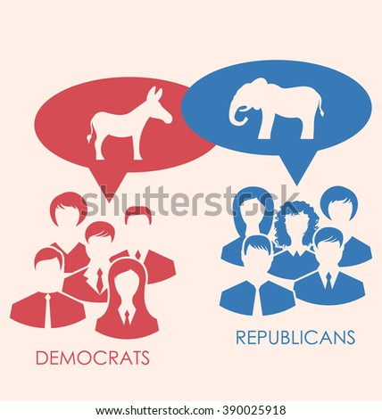 Illustration of Debate Republicans and Democrats. Donkey and Elephant as a Symbol Vote of USA. Retro Style Design - Vector - stock vector