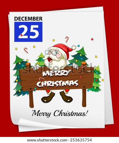 Illustration of December 25 is Christmas - stock vector