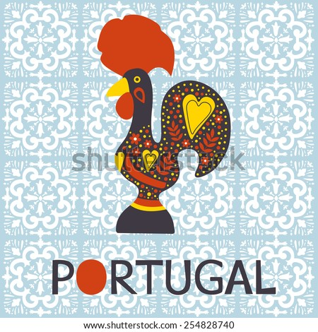 Illustration of  decorated Barcelos rooster symbol of Portugal. Vector illustration