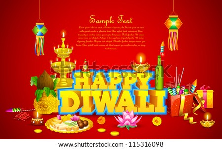 illustration of decorated diwali diya with gift box and sweet