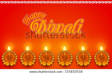 illustration of Decorated Diya for Diwali Holiday - stock vector