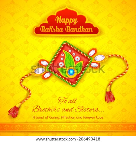 illustration of decorative rakhi for Raksha Bandhan background - stock vector