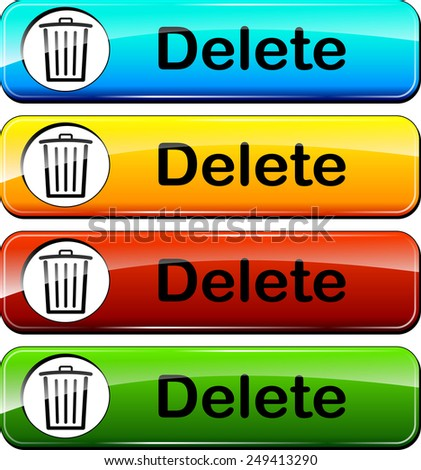 illustration of delete web buttons design set - stock vector