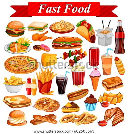 food illustration junk fast drink delicious tasty shutterstock vector background soda fried display