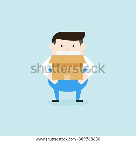 Illustration of delivery man is holding the box paper. Vector illustration flat style. - stock vector