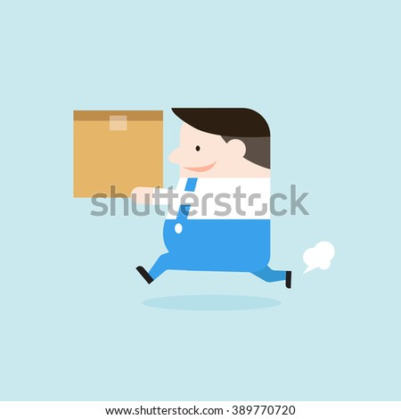 Illustration of delivery man is running and holding the box paper. Vector illustration flat style. - stock vector