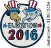 Illustration of democrat donkey head mascot and republican elephant head mascot  wearing hat with stars and stripes design set inside circle with the words Election 2016. - stock vector