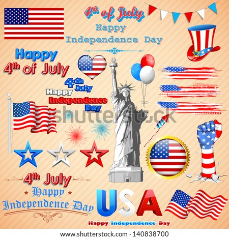 illustration of design element for American Independence Day - stock vector