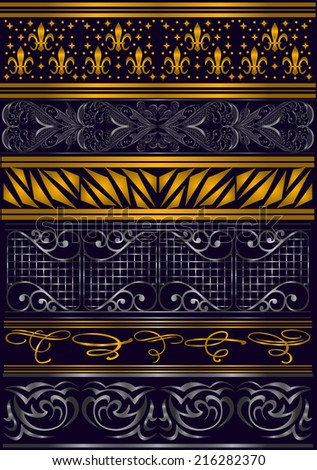 Illustration of design elements, dividers and floral ornaments in silver and golden colors