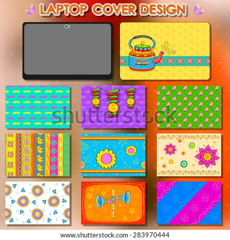 illustration of design in Indian kitsch style laptop cover template
